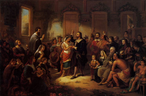 """Pocahontas: su vida y leyenda"", de William M. S. Rasmussen, 1855. (Wikimedia Commons)"